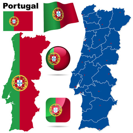 Portugal vector set. Detailed country shape with region borders, flags and icons isolated on white background. Vector