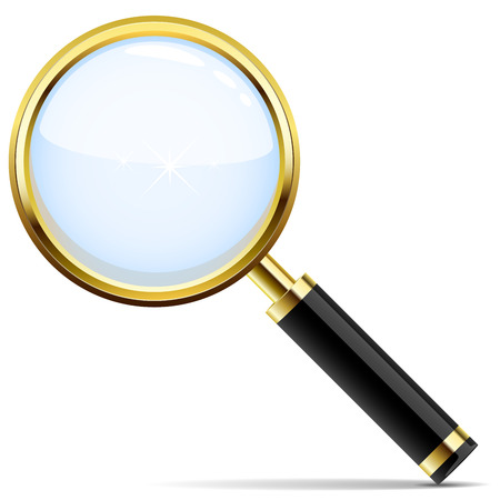 investigating: Golden magnifying glass vector icon isolated on white.