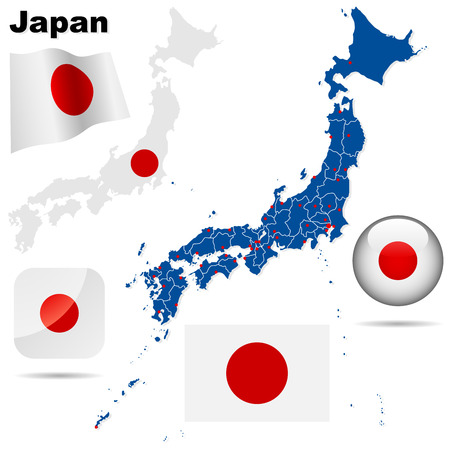 Japan vector set. Detailed country shape with region borders, flags and icons isolated on white background. Stock Vector - 6344633