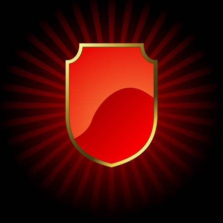 Decorative red glossy shield  with golden frame. Vector