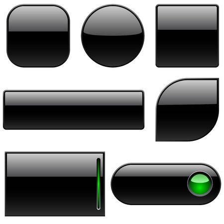 白で隔離される web サイトの空白の黒いプラスチックのボタン。