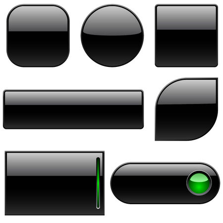 glassy: Blank black plastic buttons for web sites isolated on white.