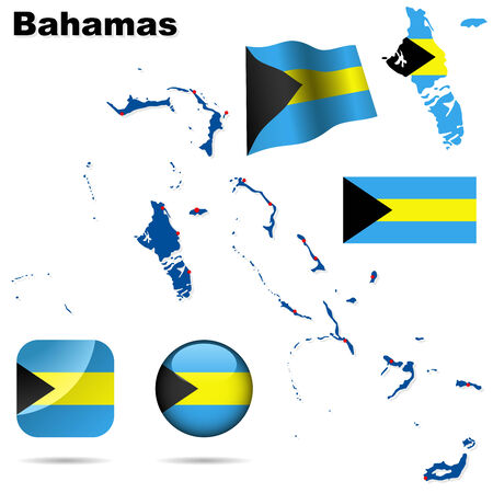 Bahamas vector set. Detailed country shape with region borders, flags and icons isolated on white background. Stock Vector - 6379169