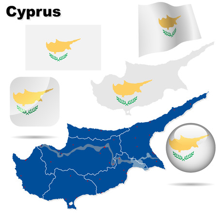 Conjunto de vectores de Chipre. Forma de pa�s detallada con las fronteras de la regi�n, banderas y iconos aislados sobre fondo blanco.