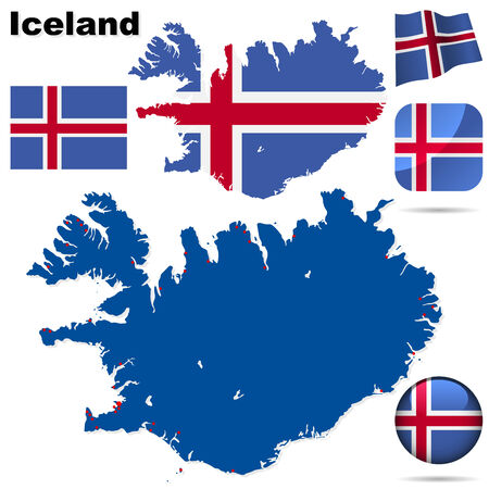 Iceland vector set. Detailed country shape with region borders, flags and icons isolated on white background. Stock Vector - 6379170
