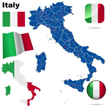 Conjunto de vector de Italia. Forma de pa�s detallado con las fronteras de la regi�n, banderas y iconos aislados sobre fondo blanco.  Vectores