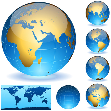 Vector Earth globes and detailed shape of the world isolated on white. Easy to edit EPS10 file with transparency. Vector