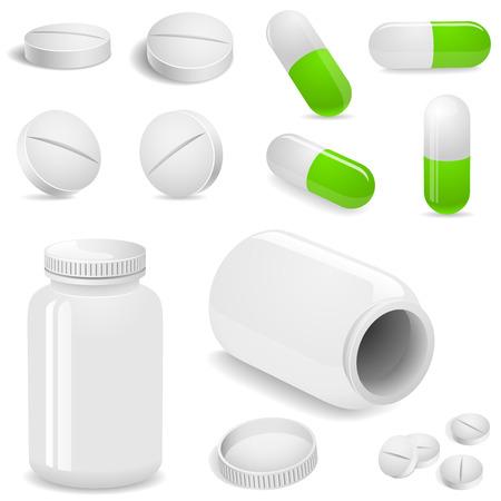 pastillas: Tabletas y p�ldoras vector conjunto aislado en blanco. Vectores