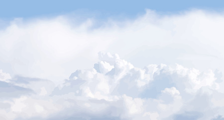 panoramic view: Vector illustration of cloudscape. Panoramic view. No gradients and effects, just objects with solid fill.