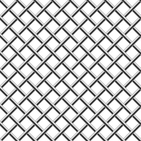 trenzado: Cromo transparente trenzado diagonal parrilla aislado en blanco.  Vectores