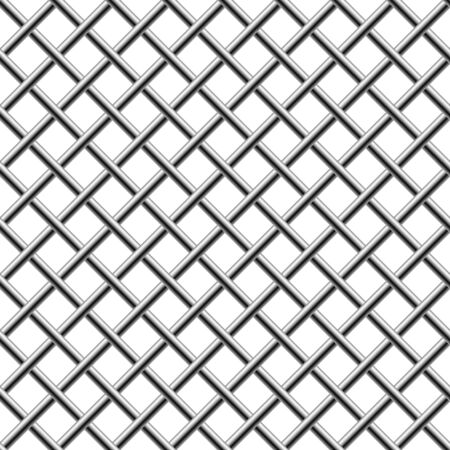 Seamless chrome braided diagonal grill isolated on white.