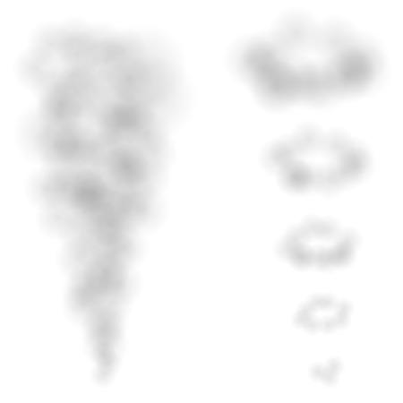 Bocanadas de humo de vector y aros aislados sobre fondo blanco.