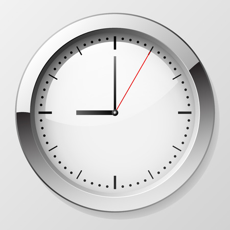 o�??clock: Reloj de pared cl�sico con punteros en 9 o?clock simbolizando a partir del d�a de trabajo. Archivo EPS10.