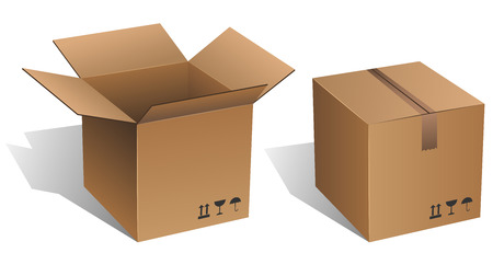 Opened and closed vector cardboard box isolated on white. Vector