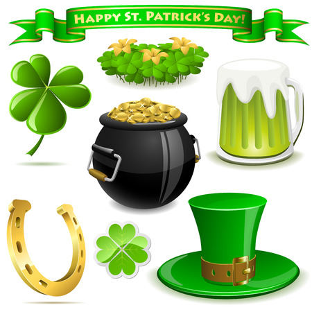 Saint Patrick's Day symbols vector set  isolated on white. Vector