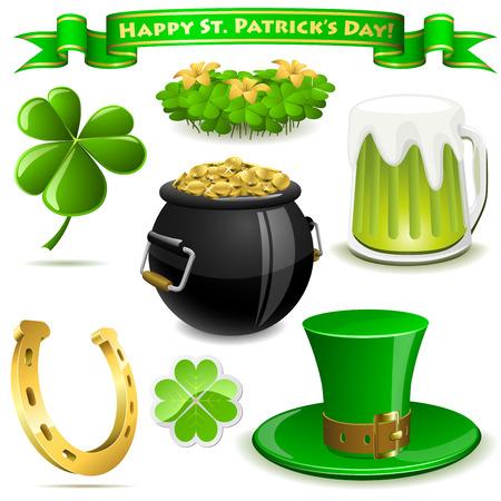 Saint Patrick's Day symbols vector set  isolated on white. Stock Vector - 6523874