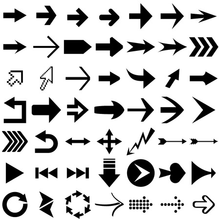 Vector set of arrow shapes  isolated on white. Vector
