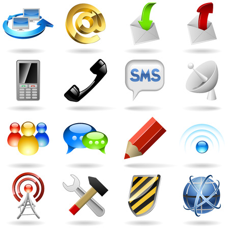 Communication and internet icons set.  Stock Vector - 6523892