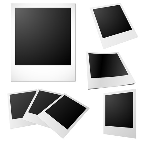 black and white photography: Vector set of blank printed photos isolated on white. Illustration