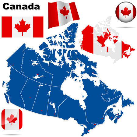 provinces: Canada vector set. Detailed country shape with region borders, flags and icons isolated on white background.