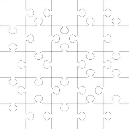 Plantilla de vector de puzzle. Utilizando piezas de un rompecabezas de esta ilustración puede hacer rompecabezas de cualquier tamaño.