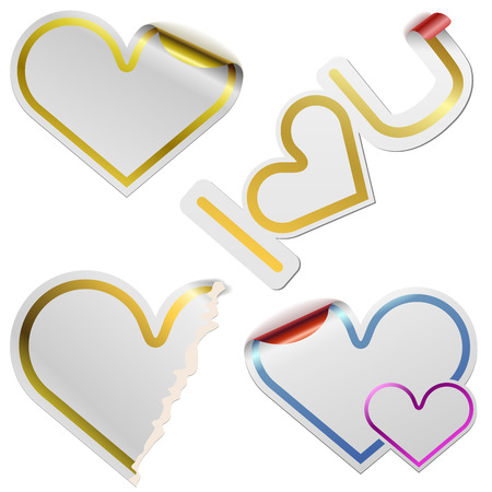 White blank heart shaped stickers with golden frames isolated on white background. Vector