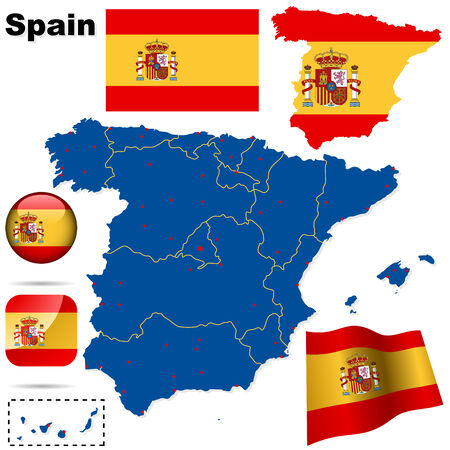 Spain vector set. Detailed country shape with region borders, flags and icons isolated on white background. Stock Vector - 6597339