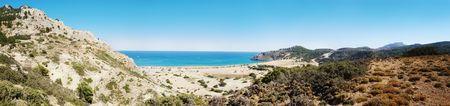 tsampika: Panoramic view on Tsampika beach. Rhodes Island, Greece.