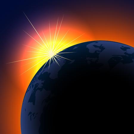 De zon stijgt boven de achtergrond van de planeet met kopieer ruimte.  Stock Illustratie