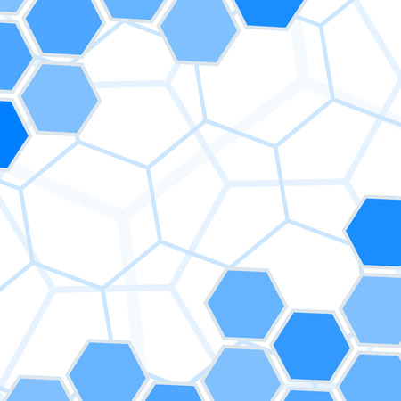 hexahedron: Abstract blue hexagons background with copy space. Illustration