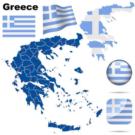 Conjunto de Grecia. Forma de pa�s detallada con las fronteras de la regi�n, banderas y iconos aislados sobre fondo blanco. Vectores