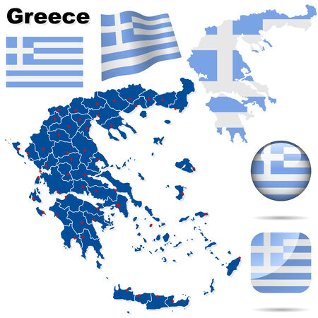 greek flag: Greece set. Detailed country shape with region borders, flags and icons isolated on white background. Illustration