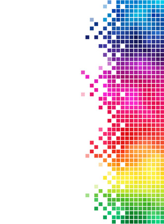 Colorful rainbow square mosaic side element. Stock Vector - 6747997