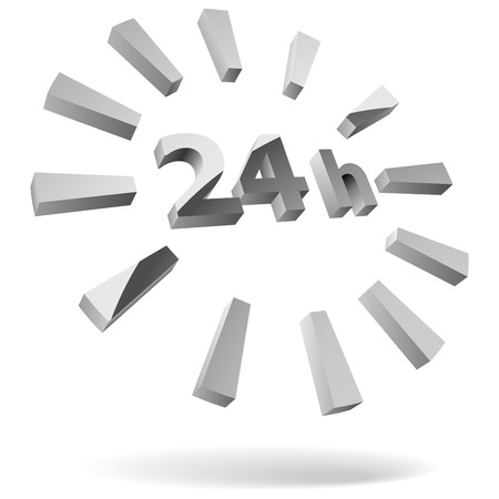 24 hours: 24 hours steel 3D icon isolated on white.