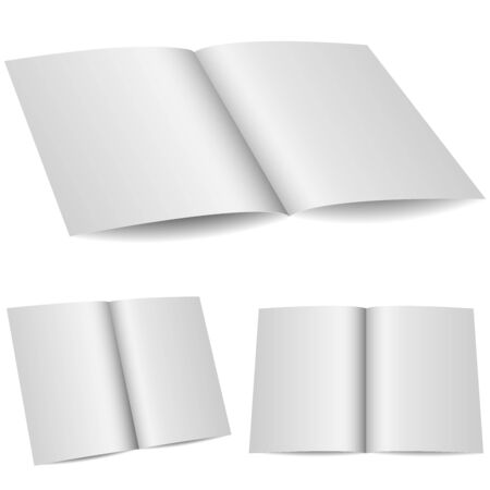 opened: Blank opened folder in 3 variants isolated on white background.