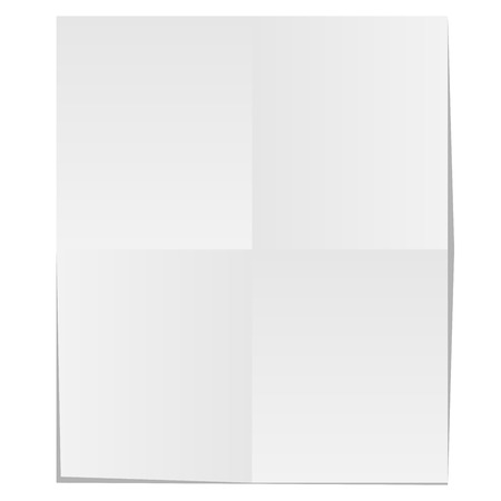 crease: Blank unfolded paper isolated on white background.