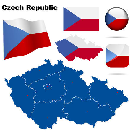 central europe: Czech Republic set. Detailed country shape with region borders, flags and icons isolated on white background. Illustration