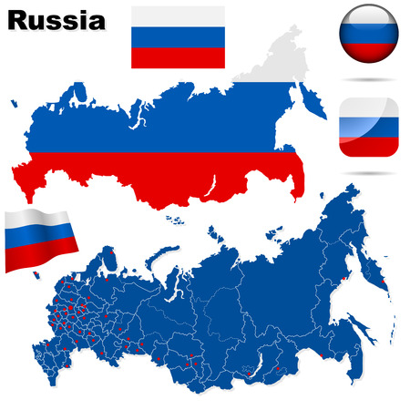 Russian Federation set. Detailed country shape with region borders, flags and icons isolated on white background. Vector