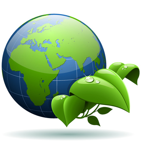 environmentally friendly: Green concept. Glossy Earth globe with green leaves isolated on white background. Illustration