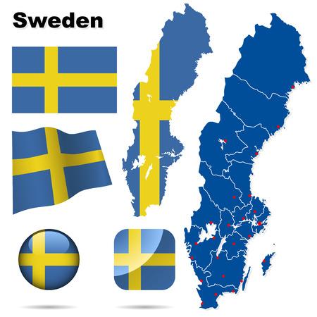 bandera de suecia: Conjunto de vector de Suecia. Forma de pa�s detallado con las fronteras de la regi�n, banderas y iconos aislados sobre fondo blanco.