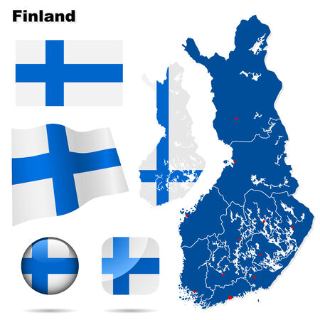 suomi: Finland set. Detailed country shape with region borders, flags and icons isolated on white background. Illustration