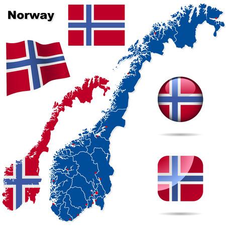 Conjunto de vector de Noruega. Forma de país detallado con las fronteras de la región, banderas y iconos aislados sobre fondo blanco.  Ilustración de vector