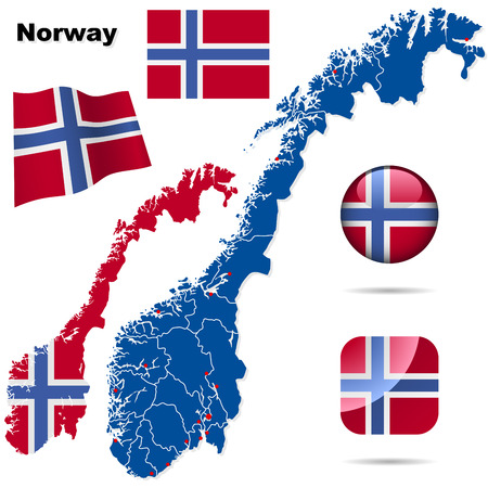 Norway vector set. Detailed country shape with region borders, flags and icons isolated on white background. Vector
