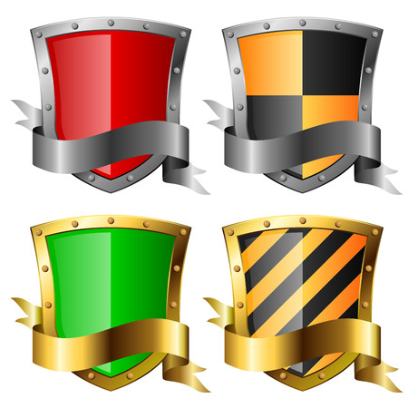 Protection icons. Four shields with banners isolated on white. Eps10 file. Vector