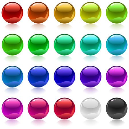 Collection of colorful glossy metallic spheres isolated on white. Vector