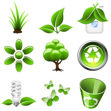 Iconos verdes ambientales aislados sobre fondo blanco.  Vectores
