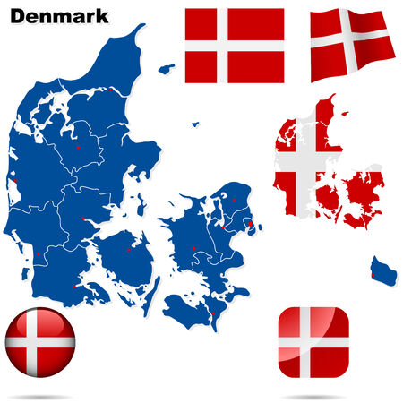 Denmark  set. Detailed country shape with region borders, flags and icons isolated on white background.