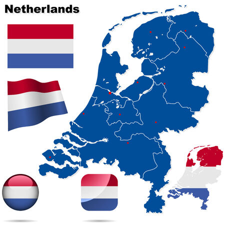 Netherlands  set. Detailed country shape with region borders, flags and icons isolated on white background. Vector