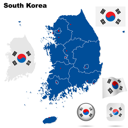 korea: South Korea  set. Detailed country shape with region borders, flags and icons isolated on white background.