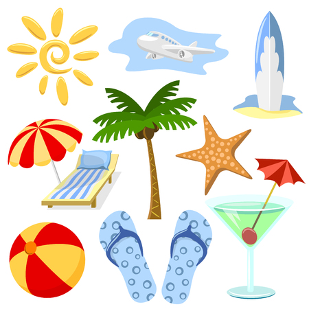 Summer and travel symbols set in cartoon style. No effects or gradients. Vector